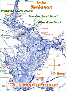 Lake Buchanan map - Lake Buchanan is known for great striper fishing