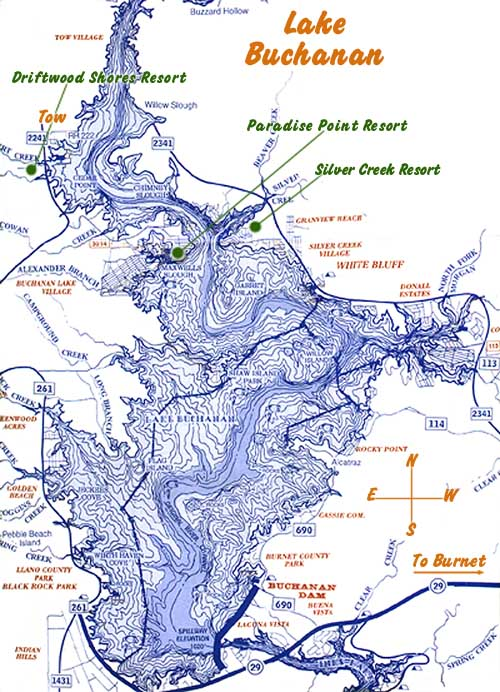 Lake Buchanan Map - Map of Lake Buchanan in Texas